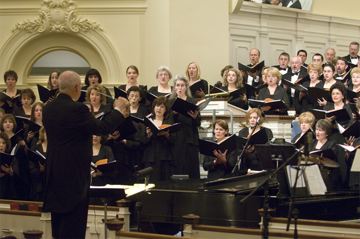 Photo of Hartford Chorale in concert with link to posts about our current season